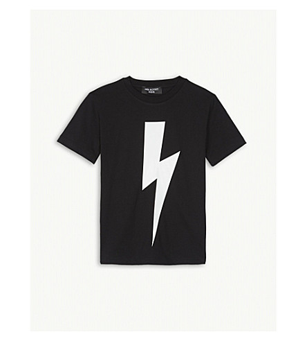 NEIL BARRETT Lightning bolt cotton T-shirt 4-14 years (Black+white