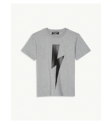 NEIL BARRETT Lightning bolt cotton T-shirt 4-14 years (Grey