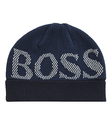 BOSS Logo cotton and wool-blend beanie 8-16 years (Blue