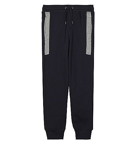 BOSS Embroidered logo piqué cotton jogging bottoms 4-16 years (Navy