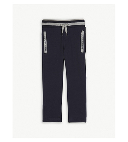 BOSS Logo cotton tracksuit bottoms 4-16 years (Navy