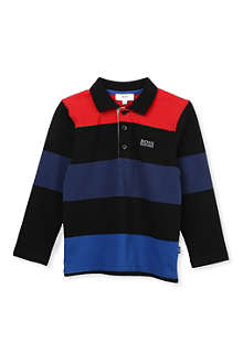 BOSS Wide stripe long-sleeved polo shirt 4-16 years