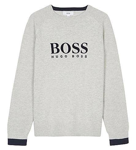 BOSS Velvet logo cotton jumper 4-16 years (Grey