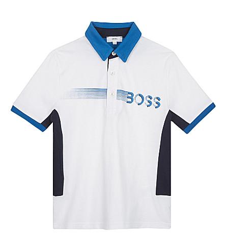BOSS Smudge logo cotton polo shirt 4-16 years (White