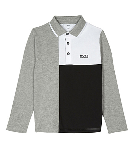 BOSS Block design long-sleeved cotton polo top 4-16 years (Grey