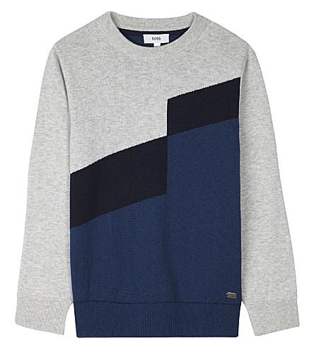 BOSS Block panel cotton-wool jumper 4-16 years (Blue