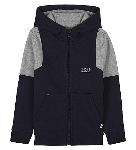 BOSS Colour-block zipped hoody 4-16 years (Navy