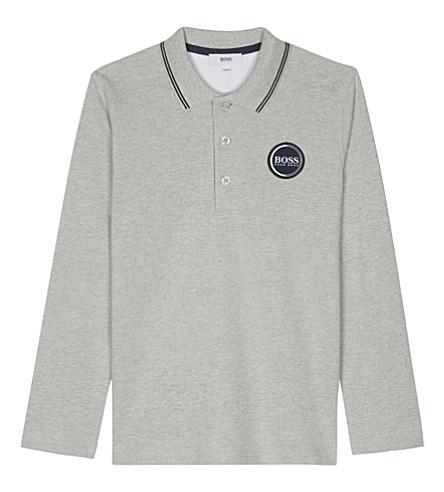BOSS Logo cotton long-sleeved polo shirt 4-16 years (Grey