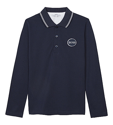 BOSS Logo cotton long-sleeved polo shirt 4-16 years (Navy