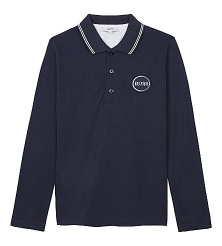 BOSS Logo cotton long-sleeved polo shirt 4-16 years (Navy