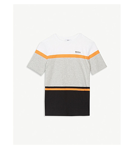 BOSS Logo stripe cotton-blend t-shirt 4-16 years (Black/+white/+orange