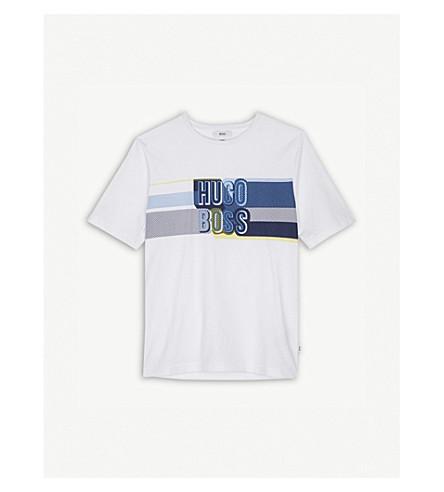 BOSS Multi-stripe logo print cotton T-shirt 4-16 years (White