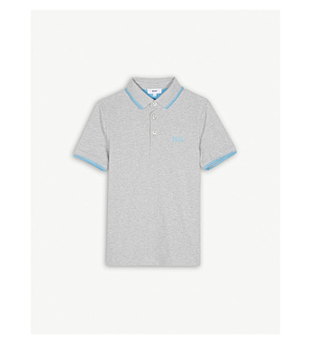 BOSS Logo piqué cotton polo shirt 4-16 years (Grey