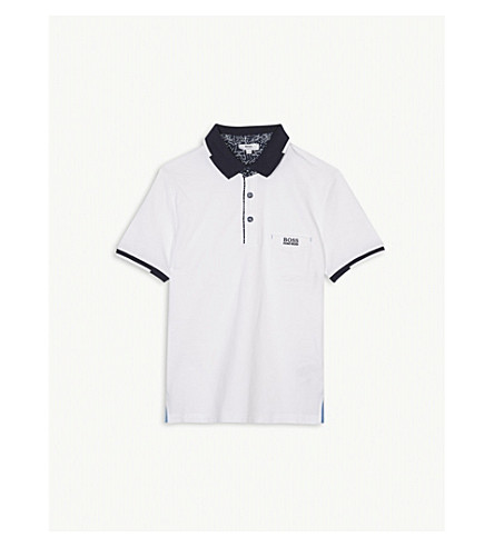 BOSS Pocket embroidered logo cotton-blend polo shirt 4-16 years (White