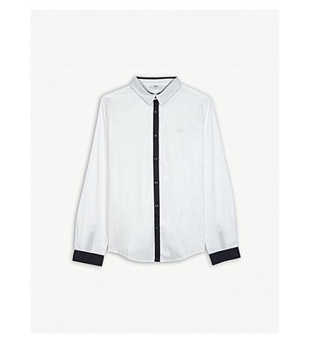 BOSS Contrast cotton shirt 4-16 years (White