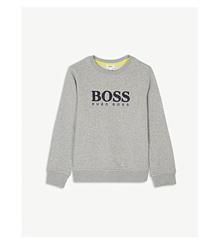 BOSS Mesh logo cotton jumper 4-16 years (Grey