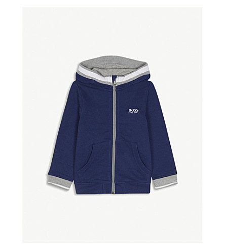 BOSS Logo cotton-blend hoody 4-16 years (Blue