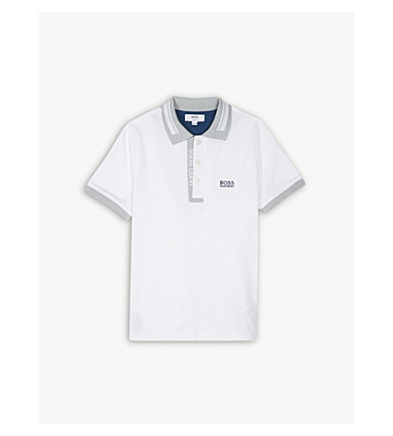 BOSS Logo cotton polo shirt 4-16 years (White