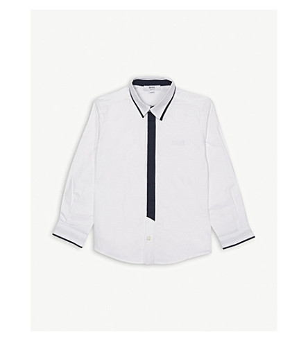 BOSS Contrast placket cotton shirt 4-14 years (White
