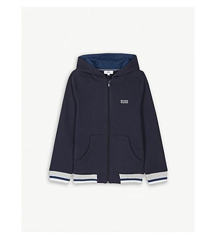 BOSS 侧面标志棉压缩帽衫 4-16 岁 (蓝色