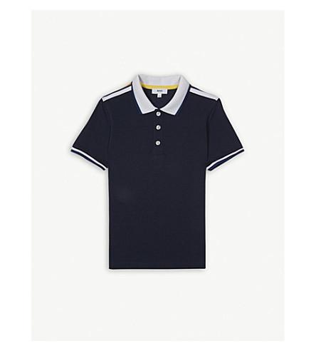 BOSS Contrast logo cotton polo shirt 4-16 years (Blue