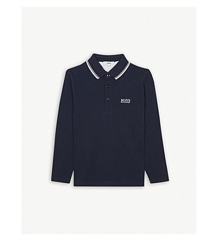 BOSS 标志长袖棉质 Polo 衫 4-16 岁 (蓝色