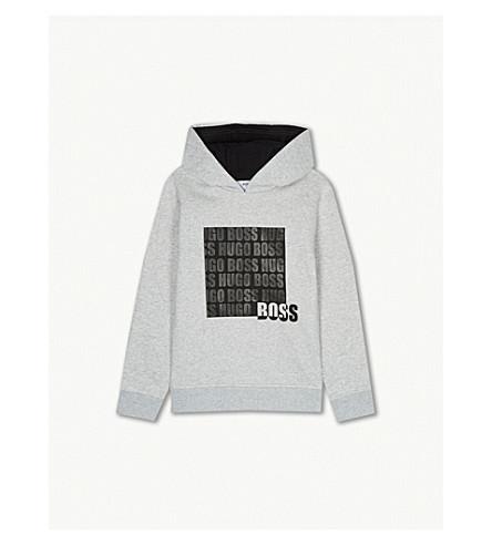 BOSS 方形标志棉混纺帽衫 4-16 岁 (灰 + 石灰泥