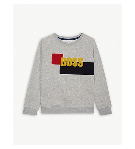 BOSS Textured logo cotton-blend sweatshirt 4-16 years (Grey+marl