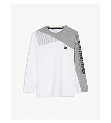 BOSS 徽标印花长袖棉质上衣 4-16 岁 (白色