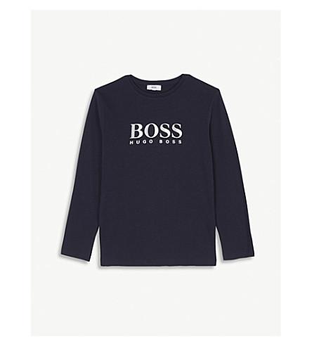 BOSS 标志长袖棉 T 恤 4-16 岁 (蓝色