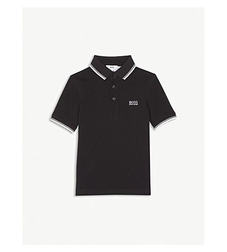 BOSS Logo cotton polo shirt 4-16 years (Black