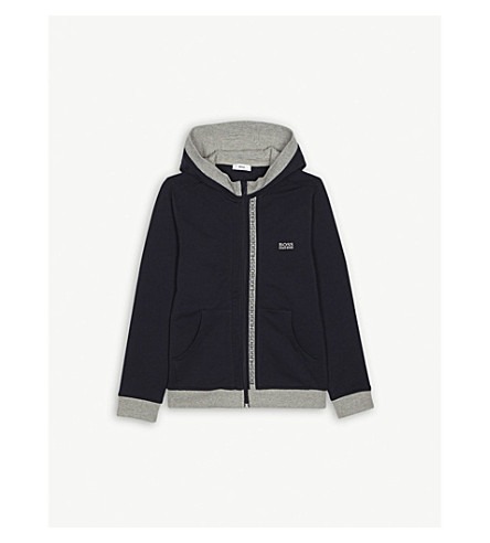 BOSS Logo stretch-cotton hoody 4-16 years (Navy