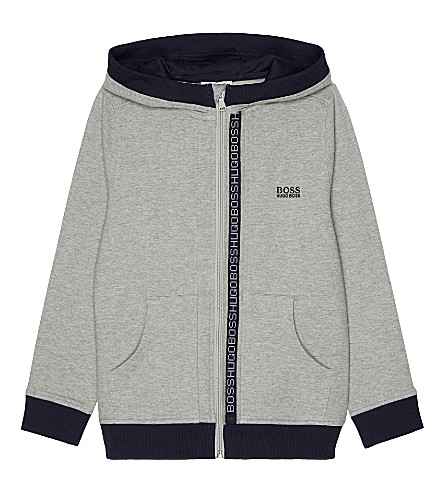 BOSS Logo trim cotton hoody 4-16 years (Grey+marl