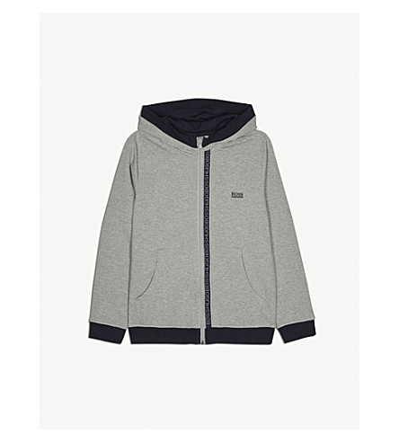 BOSS Logo trim cotton hoody 4-16 years (Grey
