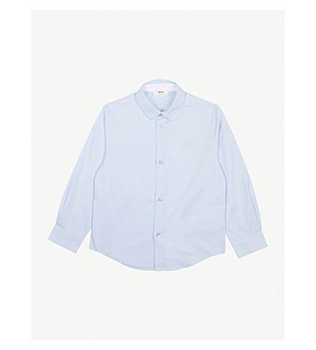 BOSS Logo cotton long-sleeved shirt 4-16 years (Blue