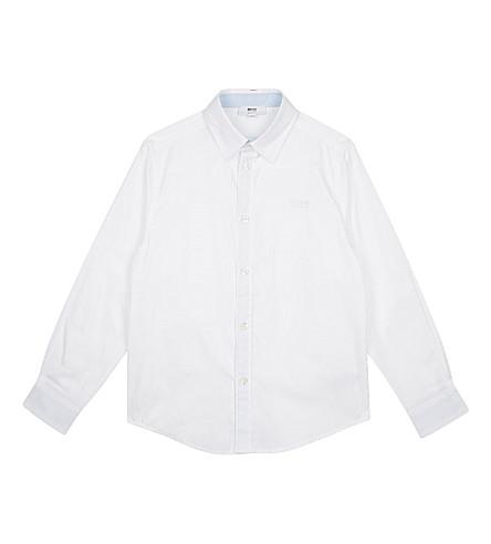 BOSS Logo cotton long-sleeved shirt 4-16 years (White
