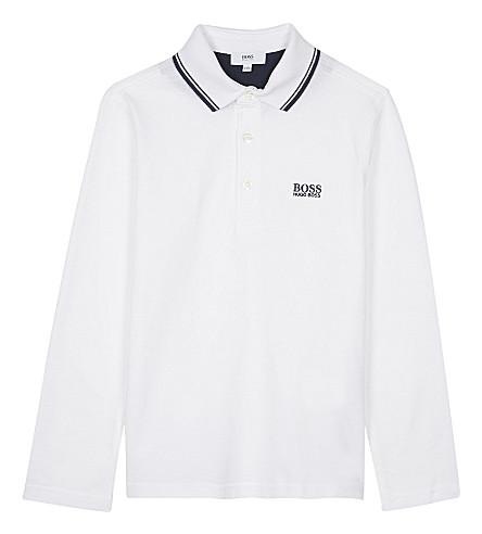 BOSS Long sleeve cotton polo shirt 4-16 years (White