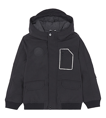 BOSS Branded fleece-lined hooded jacket 4-16 years (Black