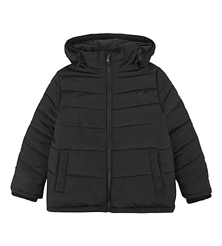 BOSS Appliqué logo quilted puffa jacket 4-16 years (Black