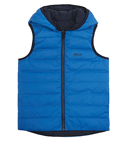 BOSS Quilted down reversible gilet 4-16 years (Blue