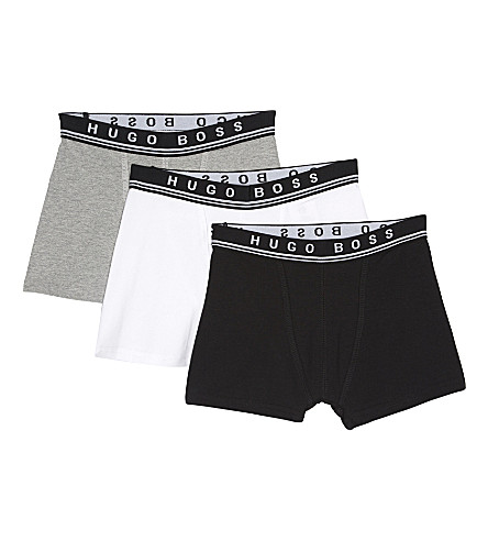BOSS Cotton set of three boxers 4-16 years (Black