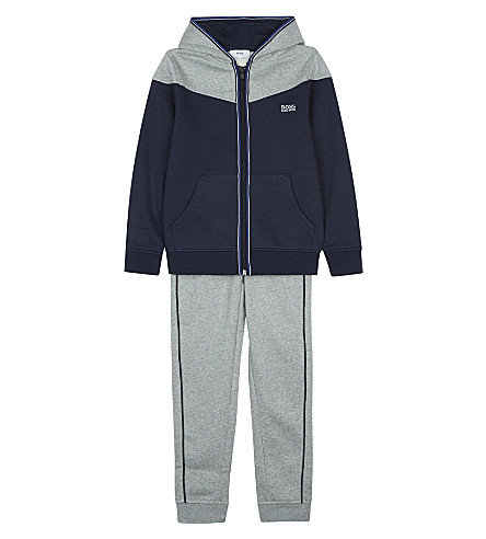 BOSS Cotton logo tracksuit 4-16 years (Grey