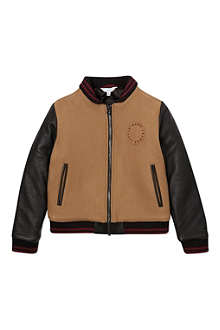 LITTLE MARC Leather sleeve bomber jacket 4-12 years