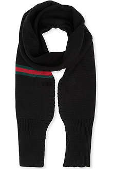 GUCCI Webbed-trim knitted scarf