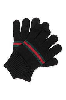 GUCCI Webbed-trim knitted gloves M-L