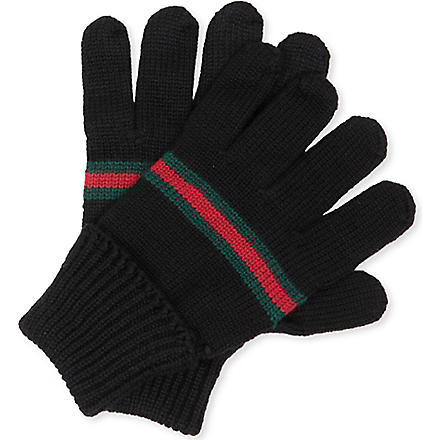 GUCCI Web-trim knitted gloves M-L (Black
