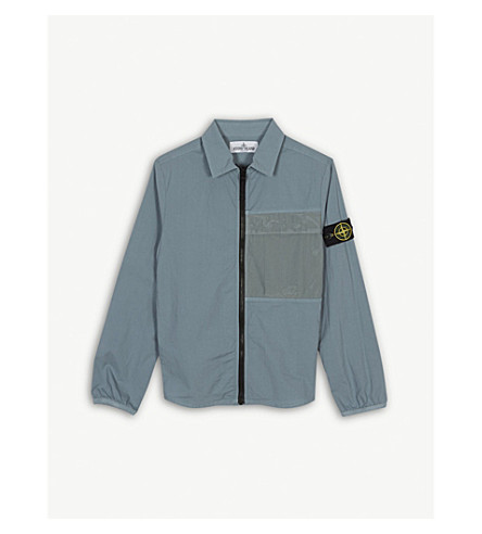 STONE ISLAND Packable cotton overshirt 6-14 years (Grey