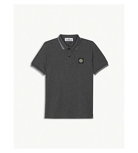 STONE ISLAND Contrast stripe polo shirt 4-14 years (Dk+grey