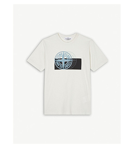 STONE ISLAND Graphic dial print cotton T-shirt 4-14 years (Ice