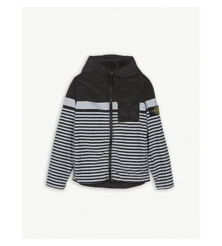STONE ISLAND Marina striped nylon jacket 4-14 years (Black/grey